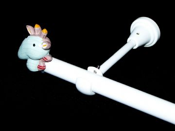 1.2m - 2.1m Designer Eyelet Extendable Curtain Pole with GIRAFFE Finials